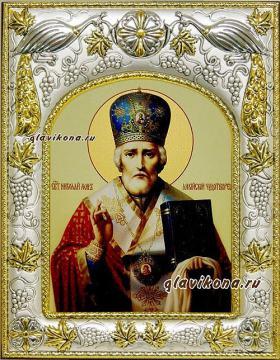 Николай Чудотворец (в митре), икона в ризе, артикул 41023