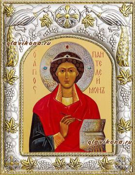 Целитель Пантелеимон, икона в ризе, артикул 41585
