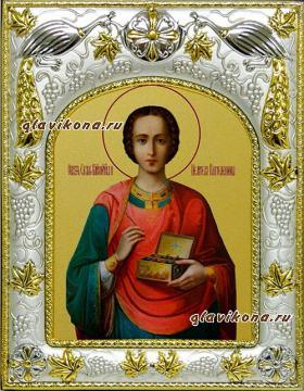 Целитель Пантелеймон (живописный), икона в ризе, артикул 41508