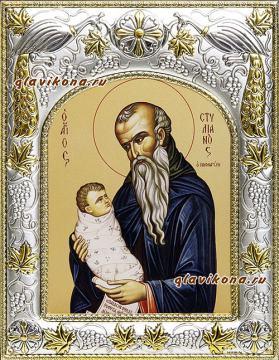 Стилиан Пафлагонский, икона в ризе артикул 41856