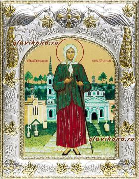 Ксения Петербургская, икона в ризе артикул 41811