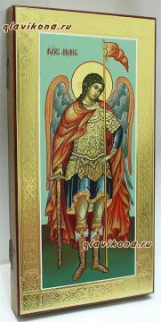 Архангел Михаил, икона ростовая с золочением и чеканкой на полях - вид сбоку