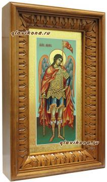 Архангел Михаил, икона ростовая с золочением и чеканкой на полях - вид в киоте