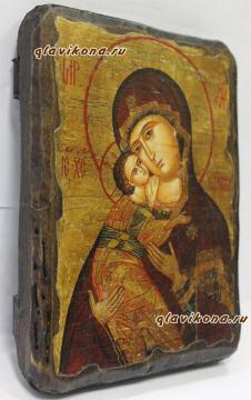 Владимирская Божия Матерь, икона искусственно состаренная