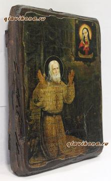Серафим Саровский (на камне), икона искусственно состаренная