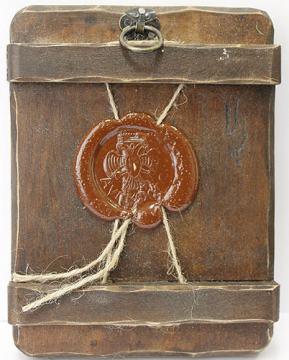 Петр и Феврония, икона состаренная артикул 60168 - вид сзади