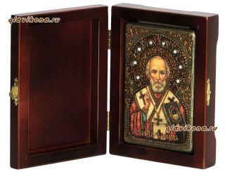 Николай Чудотворец, лик в живописном стиле, подарочная икона на дубе, малая