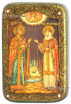 Петр и Феврония, икона с камнями