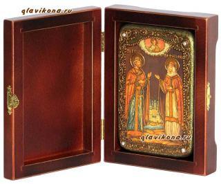 Петр и Феврония, вполоборота, подарочная икона на дубе, малая
