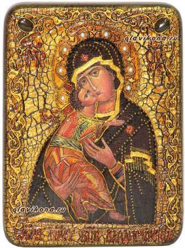 Божия Матерь Владимирская икона состаренная