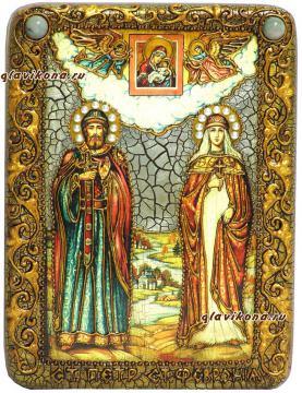 Петр и Феврония, икона со старением
