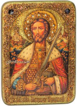 Александр Невский, икона под старину с камнями