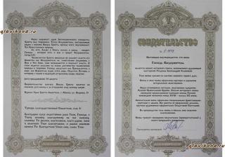 сертификат на икону с 2-х сторон
