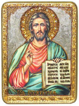 Икона Господа под старину с камнями