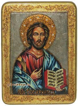 Икона Вседердителя под старину с камнями