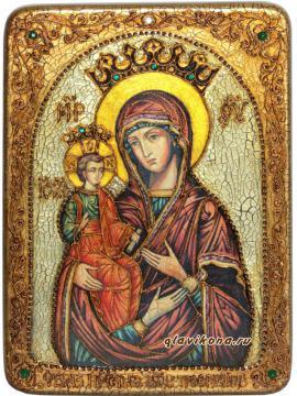 Троеручица, икона состаренная с камнями