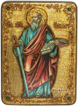 Апостол Павел (с мечом), икона подарочная на дубовой доске - другой вариант авторского оформления