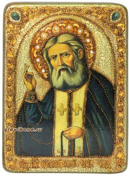 Серафим Саровский, подарочная икона под старину