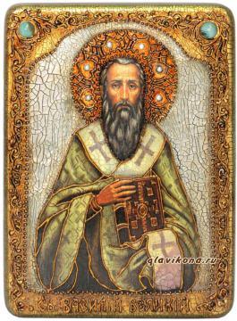 Василий Великий, икона пожарочная под старину