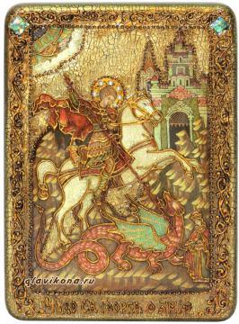 Чудо Георгия о змие, икона с камнями