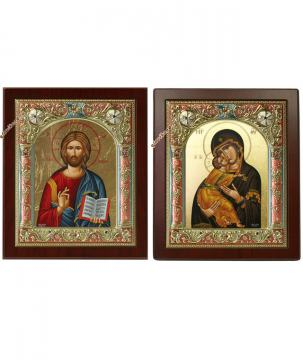 Венчальная пара икон с Владимисркой БМ, производство Греция