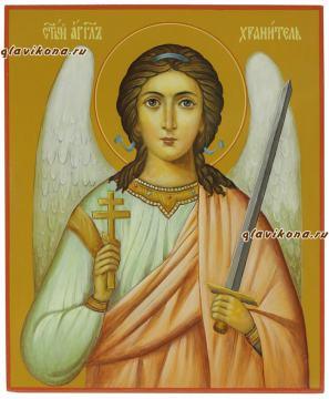 Рукописная икона Ангела Хранителя с поясным изображением, артикул 710