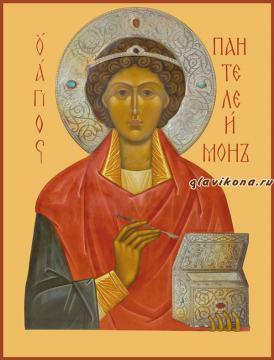 Пантелеймон великомученик, печатная на дереве икона