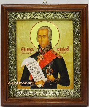 Федор Ушаков, праведный воин, икона на холсте в широком киоте