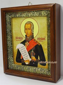 Федор Ушаков, праведный воин, икона на холсте в широком киоте - вид сбоку