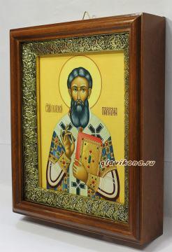 Григорий Палама, икона на холсте в широком киоте - вид сбоку