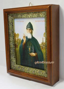 Серафим Вырицкий,, икона на холсте в широком киоте - вид сбоку