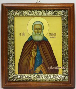 Феодосий Кавказский, икона на холсте в широком киоте