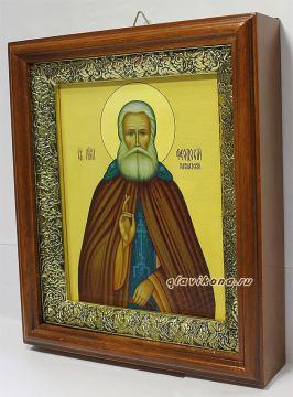Феодосий Кавказский, икона на холсте в широком киоте - вид сбоку