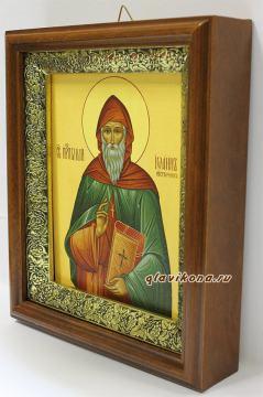 Иоанн Лествичник, икона на холсте в широком киоте - вид сбоку