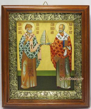 Спиридон Тримифунтский и Николай Чудотворец, икона на холсте в широком киоте