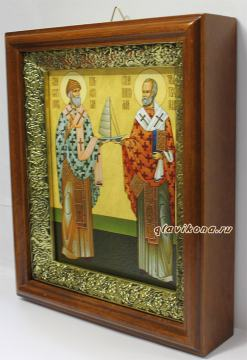 Спиридон Тримифунтский и Николай Чудотворец, икона на холсте в широком киоте - вид сбоку