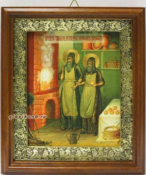 Спиридон и Никодим, просфорники Печерские, икона на холсте в широком киоте