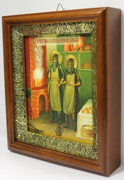 Спиридон и Никодим, просфорники Печерские, икона на холсте в широком киоте - вид сбоку