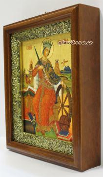Великомученица Екатерина, икона на холсте в широком киоте - вид сбоку