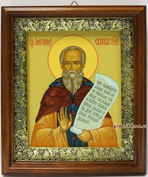 Александр Свирский, икона на холсте в широком киоте