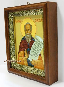Александр Свирский, икона на холсте в широком киоте - вид сбоку