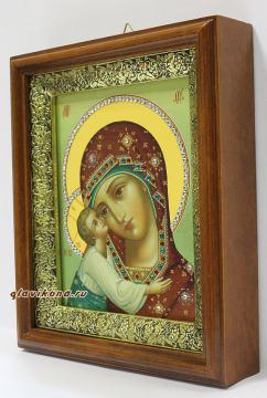 Игоревская Божия Матерь, икона на холсте в широком киоте - вид сбоку