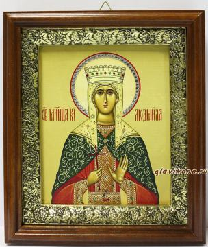 Людмила Мученица, икона на холсте в широком киоте - вид сбоку