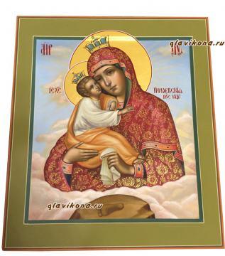 Рукописная икона Почаевская, артикул 285 - вид сбоку