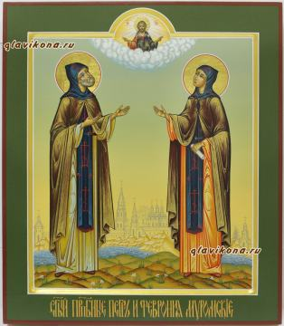 Петр и Феврония, аналойная икона писанная в палехском стиле