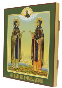 Петр и Феврония, аналойная икона писанная в палехском стиле - вид сбоку