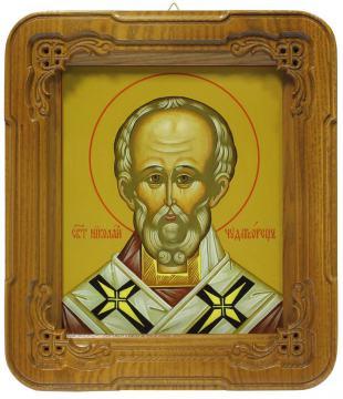 Николай Чудотворец, икона в киоте, артикул 6110