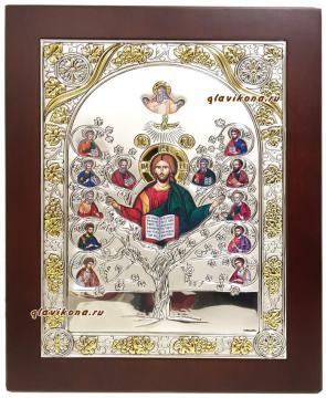 Спас Древо жизни, икона в серебре
