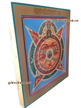 Всевидящее око Божие, рукописная икона артикул 432 - вид иконы сбоку