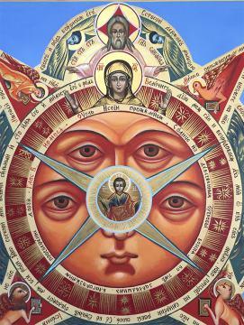 Всевидящее око Божие, рукописная икона артикул 432 - детали